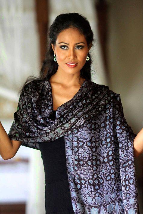 Batik silk shawl, 'Java Sea' #Sponsored #silk, #AD, #Batik, #shawl, #Sea