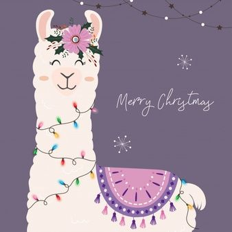 Cute Christmas Llama With Christmas Lights In 2021 Merry Christmas Card Greetings Greeting Card Collection Greeting Poster