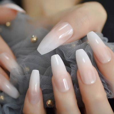 Long Coffin French Mani Blend Full Cover Ballerina Transp 24 Nail Tips Glue Ebay In 2020 Natural Nails French Nails Almond Acrylic Nails