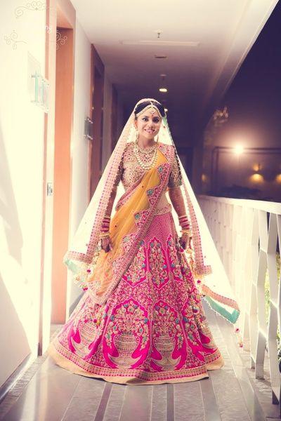 Pink bridal lehenga , matka motif, Anju modi hot pink lehenga , pink and yellow lehenga