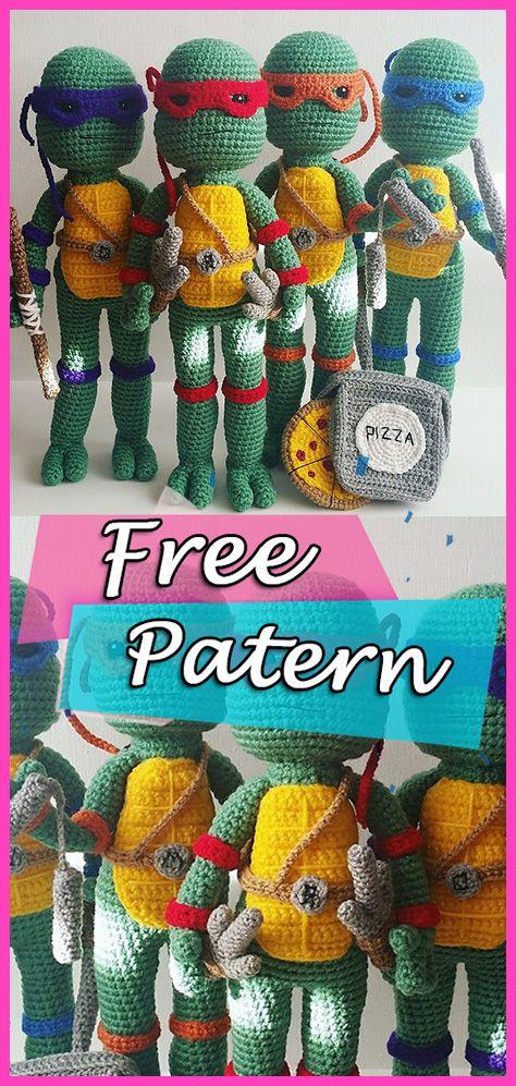 Teenage Mutant Ninja Turtles With A Mini Pizza Amigurumi Crochet
