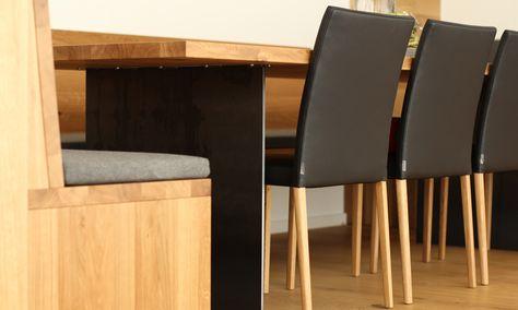 Eckbank aus Holz mit Leder, Tisch aus Eiche mit Stahl Esstische - team 7 küche gebraucht