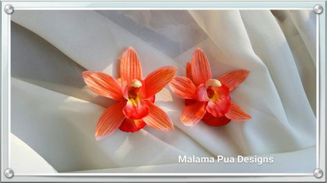 TROPICAL ORCHID HAIR Clip  Real Touch Coral Orange by MalamaPua
