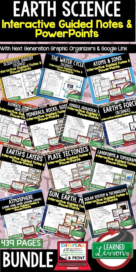 Earth Science Guided Notes Powerpoints Ngss Bundle Google Interactive