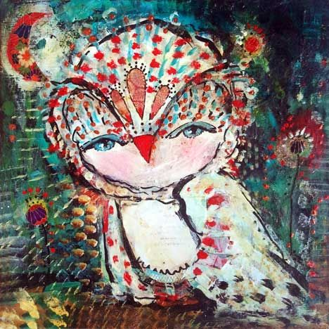 Whimsical Owl Art Print - inch Limited Edition Print of a Reproduction of the Painting Look Within by Juliette Crane