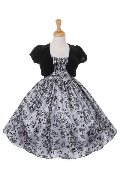 def2b943a Mimi: Glitter Holiday Flower Girl Dress in SilverPretty two piece sliver  glitter flocked taffeta holiday dress with a black velvet bolero.