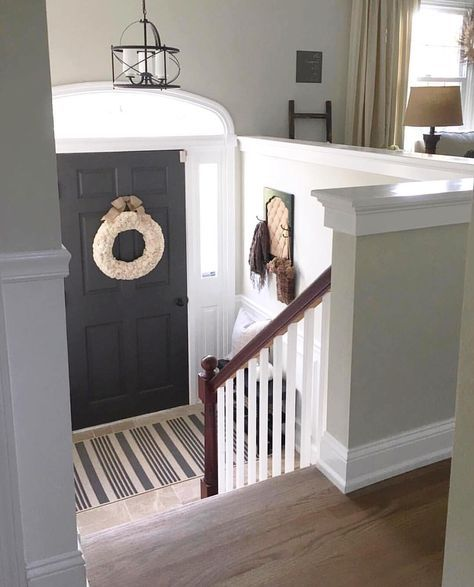 Nice Split Level Entryway With Painted Front Door And Stairs | Split Level Entry Stairs | Raised Ranch | Tri Level | Modern | Knee Wall | Entrance