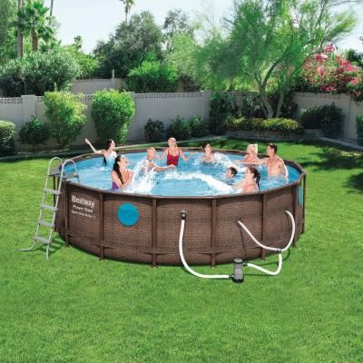 Bestway Bestway Power Steel Swim Vista 16 Ft X 4 Ft Above Ground Swimming Pool Set With Pump 56726e Bw The Home Depot In 2020 Above Ground Swimming Pools Round Above Ground
