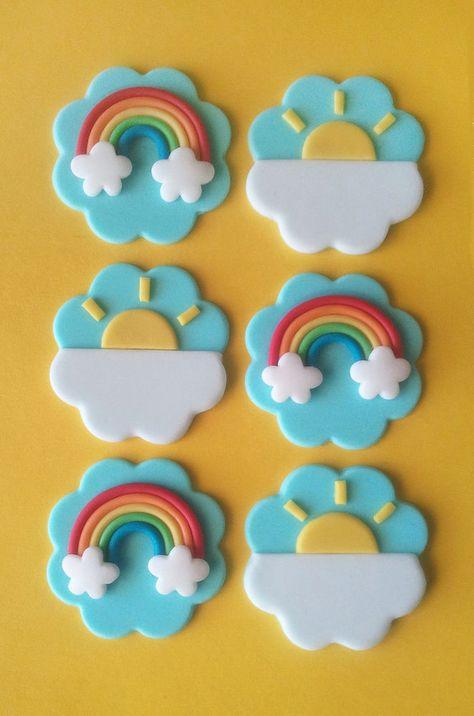 12 Fondant Rainbow Cupake Topper - 6 Rainbow, 6 Sun OR 12 Rainbow