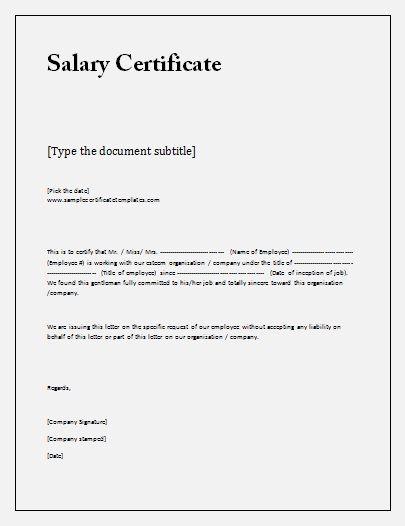 20 Salary Certificate Formats Certificate Format Certificate
