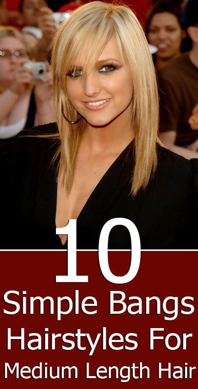 10 Simple Bangs Hairstyles For Medium Length Hair   hair style inspiration   hair cut ideas   bangs   hair trends   celebrity hair
