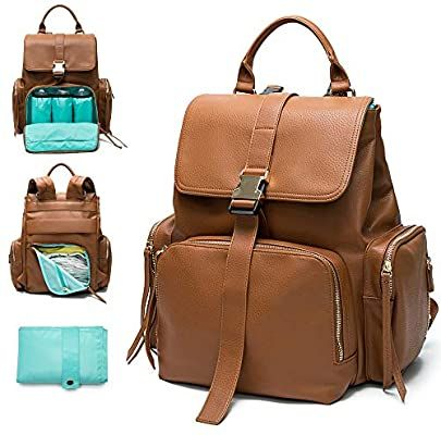 Amazon Com Diaper Bag Backpack By Mominside Leather Backpack For Women Travel Backpack Baby Bag In 2020 Brown Leather Diaper Bag Baby Bag Backpack Leather Backpack