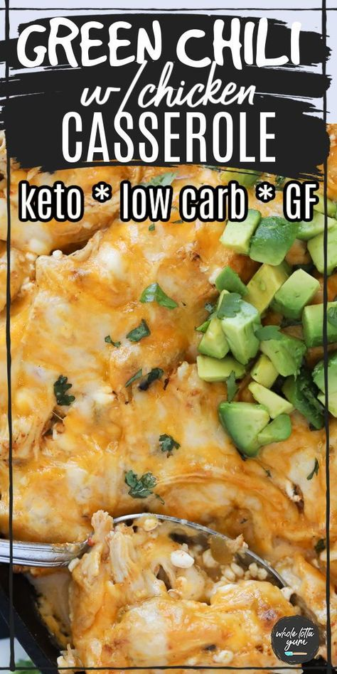 A keto chicken casserole with chili verde sauce and cheese when you're craving Mexican for dinner. The keto enchilada casserole is also low carb and gluten free too.