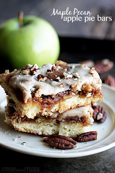 Maple Pecan Apple Pie Bars - good luck getting these things onto a plate, my husband and I practically at them all straight out of the pan!
