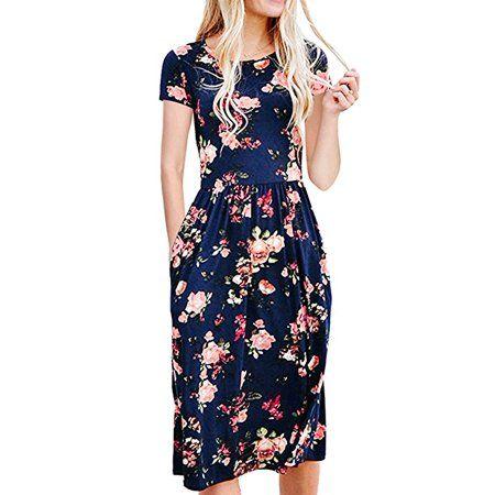 Vista Womens Dresses Summer Floral Short Sleeve Elastic Waist Vintage Retro Midi Dress With Pockets Walmart Com Floral Dress Casual Retro Midi Dress Loose Midi Dress