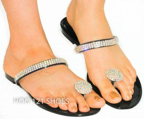 13f8f88f14abf So Cute Rhinestone Jelly Thong Sandal Toe Ring Flip Flops Jellies Beach  Wedding