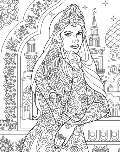 Indian Princess Colouring Page Recolor App Skull Coloring Pages Princess Coloring Pages Colorful Drawings