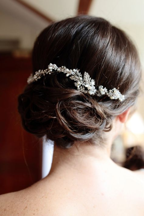 Bridal Hair up Do - Image by Dasha Caffrey - Rustic Wedding With Tartan Accents And Bride In Elegant Gown From Go Bridal With A Sassi Holford Veil And Rachel Simpson Shoes With Groom And Groomsmen In Kilts