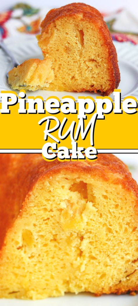 This Pineapple Rum Cake has quickly become a family favorite. With pineapple dark rum instant pudding mix and a boxed cake mix its super easy to put together and tastes even better the next day. Easy Pineapple Cake, Pineapple Rum, Pineapple Recipes, Pineapple Cake Mix Recipe, Rum Cake Recipe Easy, Sweet Desserts, Just Desserts, Sweet Recipes, Dessert Recipes