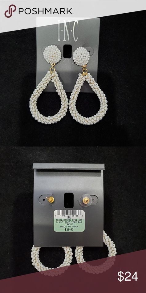 New! INC White Beaded Hoop Dangle Pierced Earrings New! INC White Beaded Hoop Dangle Pierced Earrings Excellent New Condition Definitely will make a statement with any outfit!!. Earrings are 3