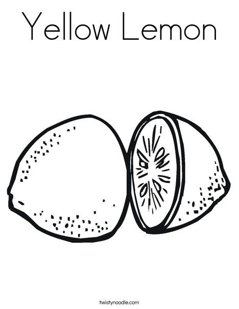 Yellow Lemon Coloring Page Twisty Noodle Coloring Pages Lemon Drawing Fruits Drawing