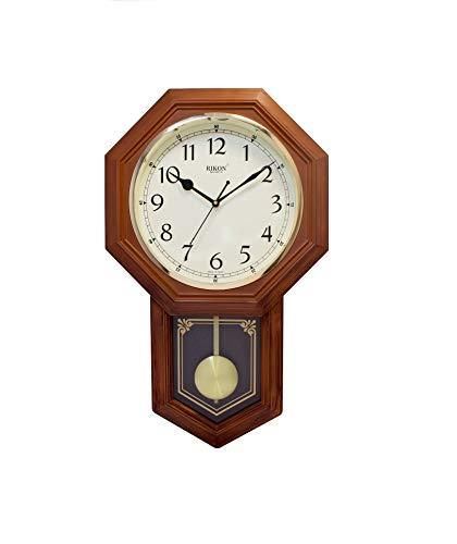 Rikon Wooden Finished Plastic Pendulum Wall Clock For Home Living Room Bed Room Office Color Brown Ivory Wall Clock Clock Bed In Living Room