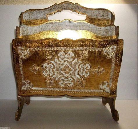 Toleware Gold Gilt Wooden Wall Shelf Italian Hollywood Regency Toleware