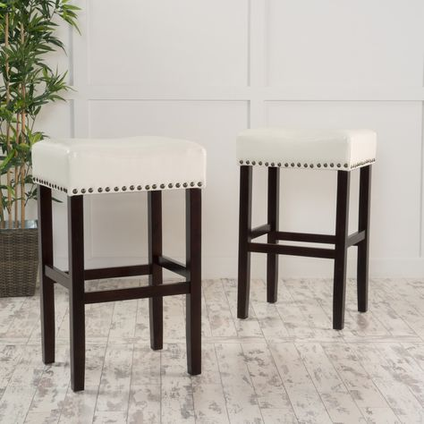 Set Of 2 Luisa Backless Ivory Leather Counter Stools Bar Stools