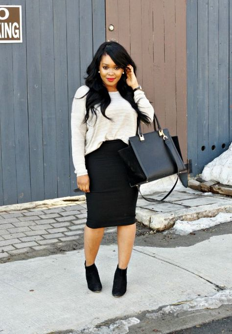 Black ankle boats outfit fall casual pencil skirts 28 Ideas for 2019