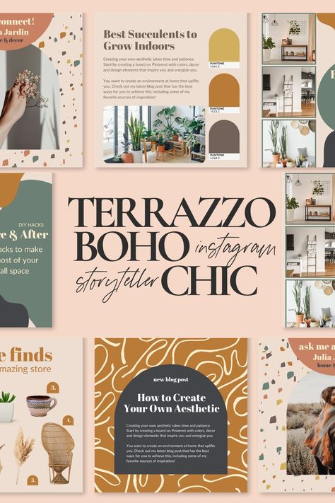 Terrazzo Instagram Template  Canva Instagram Template Social | Etsy