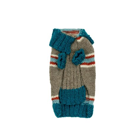 Tiny Teal Striped Dog Sweater