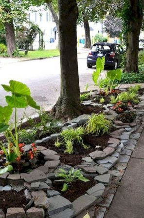 64 Awesome Front Yard Rock Garden Landscaping Ideas ... on shrubs around tree, waterfall around tree, border around tree, putting pavers around tree, hosta around tree, wood bench around tree, flowers around tree, plants around tree, block wall around tree, orchid around tree, roses around tree, iris around tree, patio around tree, pergola around tree, sculpture around tree, pond around tree, container gardening around tree, vine around tree, gazebo around tree, ground cover around tree,