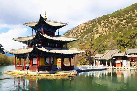 Aphrodite temple tetrapylon sanctuary monumental ancient ruins - chinesischer garten brucke