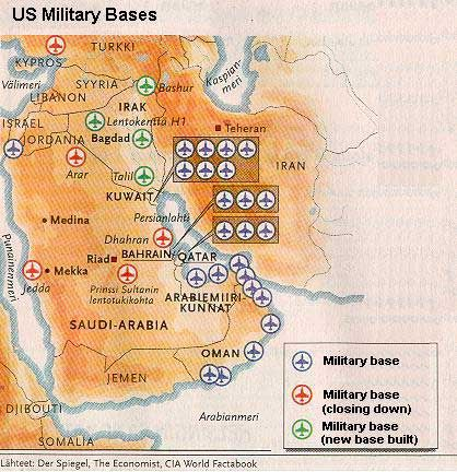 American Navy Bases in Bahrain and surrounding countries they