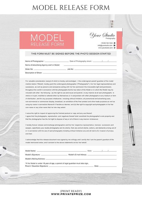 Model release form template for photographers Model Release Form