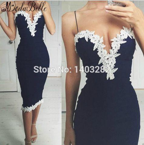 20e3aa10 Spaghetti Strap Short Tight Homecoming Dresses With White Lace Tea Length  Sexy 8th Grade Prom Dresses Vestido De Coctel 2018
