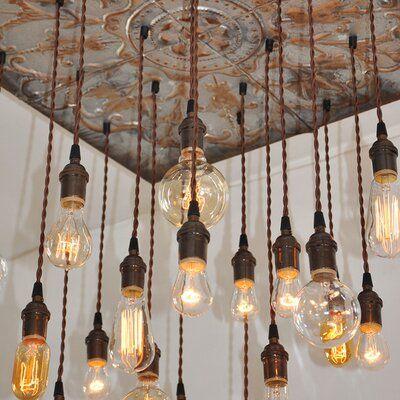 Industrial Lightworks 20 Light Cluster Bulb Pendant Industrial