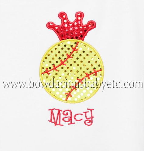Custom Boutique Personalized Softball Shirt, Monogrammed, Appliqued, Custom Fabric Choices and Colors, Birthday Gift. $18.00, via Etsy.