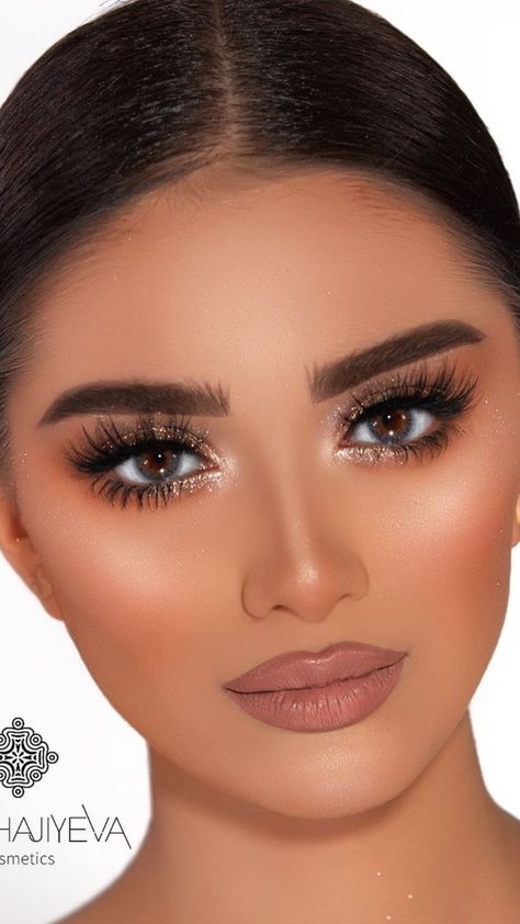 Brown & Gold Glittery Makeup Glam Tutorial