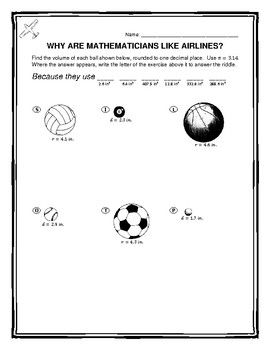 This Fun 6 Question Worksheet Involves Students Calculating The Volume Of Different Balls Used In Sports Basketball Soccer P Math Worksheets Worksheets Math