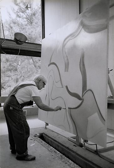 Willem de Kooning at work on Untitled XLVII in his studio, East Hampton, Long Island, 1983 Photograph by Adelaide de Menil