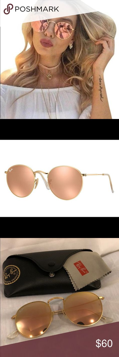 Ray Ban Rose Gold Round Sunglasses RB3447 Like-new rose gold round  sunglasses by Ray 48e8643a96fb