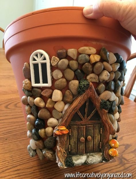 Here's how to make a sweetly whimsical DIY fairy house planter from a terra cotta pot & other inexpensive items. It's really easy, so why not give it a try? # Gardening in pots Whimsical DIY Fairy House Planter - LIFE, CREATIVELY ORGANIZED Garden Crafts, Garden Projects, Diy Projects, Clay Pot Projects, Fairy Crafts, House Projects, Diy Summer Projects, Diy Garden Decor, Diy And Crafts