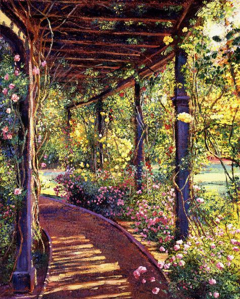 "David Lloyd Glover ""Rose Arbor Toluca Lake"" // This is in the garden at Dolores and Bob Hope's home in Toluca Lake, California. // acrylic on canvas Lake Painting, Garden Painting, Garden Art, Garden Design, Cerca Natural, Permaculture, Rose Arbor, Toluca Lake, Lake Art"
