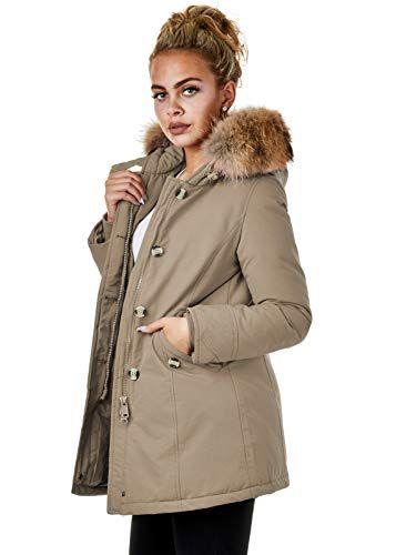 brand new 171f0 6f6ee Damen Jacke Parka Mantel Winterjacke Echtfell Kapuze Warm ...