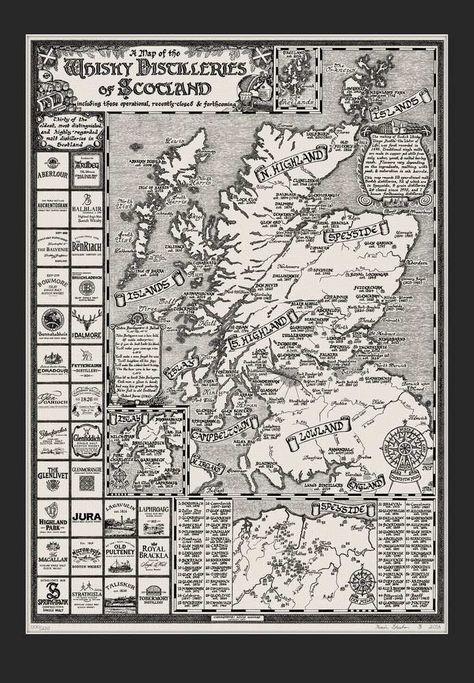 Handgezeichnete Karte Der Schottischen Destillerien