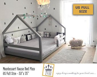 Toddler House Bed Plan Queen Bed Kid Bed Montessori Bed Etsy