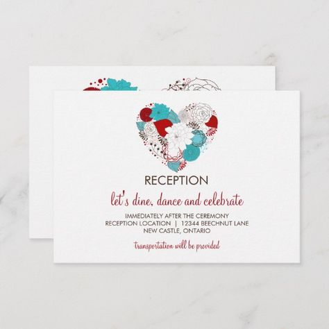 Blue and Red Whimsical Floral Heart Reception Card | Zazzle.com