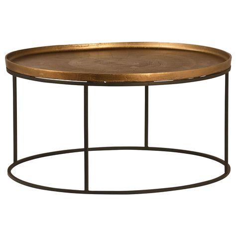 e67f7e952d Sebastian Modern Classic Iron Round Burnt Oak Tray Style Coffee Table