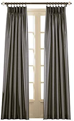 Amazon Com Curtainworks Marquee Faux Silk Pinch Pleat Curtain Panel 30 By 144 Pewter Home Kitchen Panel Curtains Home Pinch Pleat Curtains